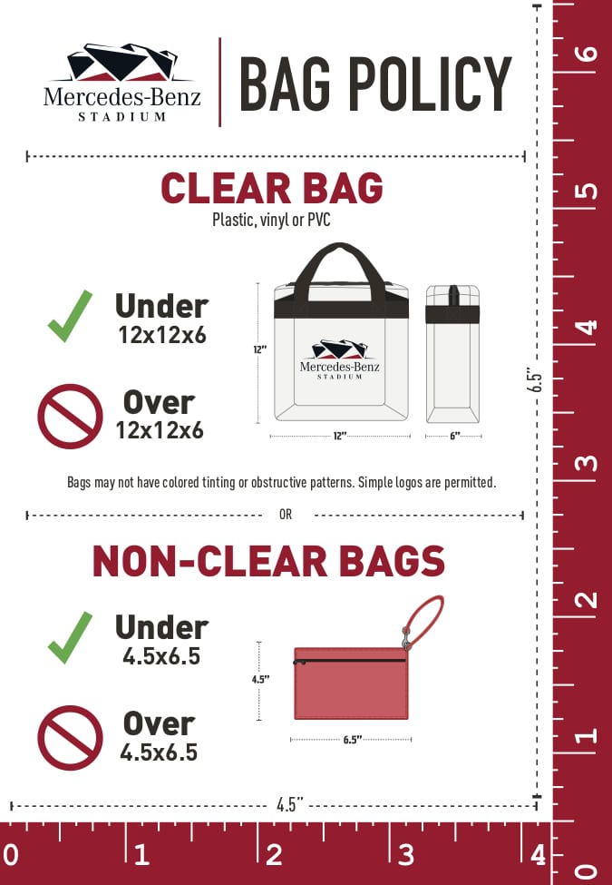 Any Type Of Non Clear Bag Exceeding 4 5 X 6 In Size Are Not Permitted Inside Mercedes Benz Stadium Unless Medically Necessary